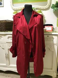 Red Silk Trench Coat