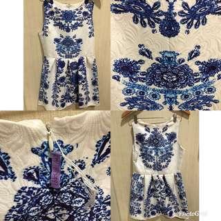 Chinoiserie Blue White Dress