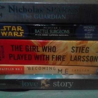 Bundled Books (The Girl who played with fire, Diary of a Teenage Girl, Star Wars, Love Story, The Gurdiands by Nicholas Sparks)