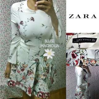 Zara	Zara White Floral Structured Long Sleeved Dress