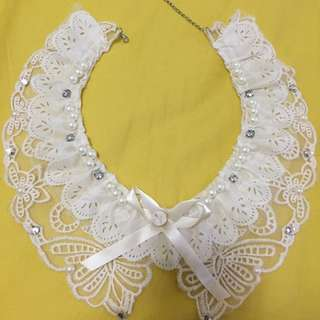 collar fake diamond ribbon lace