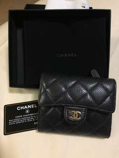 Authentic Chanel Trifold Small Short Caviar Wallet in Black