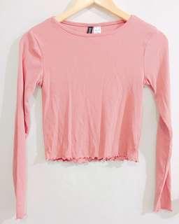 H&M Pink Ribbed Ruffle Top