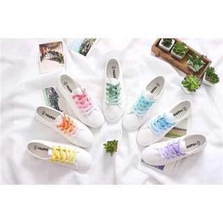 🚚 ✨現貨✨小清新漸層彩虹🌈彩虹雙色棉質鞋帶