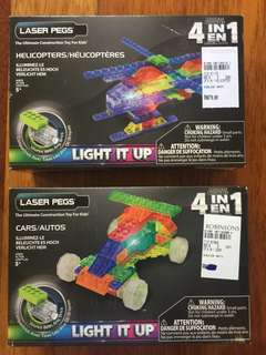 Light up lego Car & Helicopter