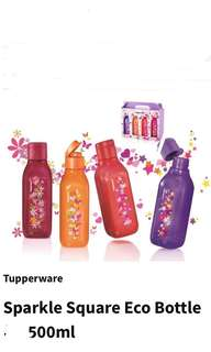 Sparkle Square Eco Tupperware Water Bottle 500ml