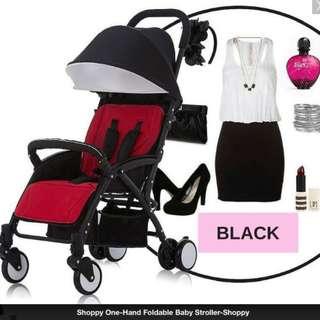 SHOPPY ONE-HAND FOLDABLE BABY STROLLER (BLACK FRAME, BLACK COVER, RED SEAT)
