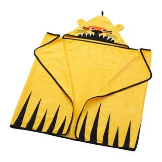 [IKEA] DJUNGELSKOG Towel with hood, tiger, yellow