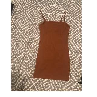 Brown/Tan Ribbed Mini Dress