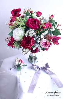 Lemongrass 結婚紅色絲花花球