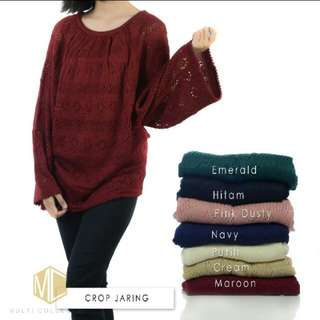 Crop jaring sweater rajut
