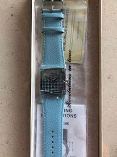 藍色Swarovski水晶Voila 意大利皮革瑞士製造不銹鋼防水手錶 Blue Voila Swarovski crystal Italian leather Swiss made stainless steel and water resistant watch