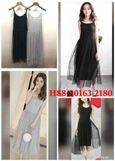 🚚 💞下接網紗裙內搭洋 顏色:黑.淺灰。材質:聚酯棉 尺寸:穿L內 胸38長112