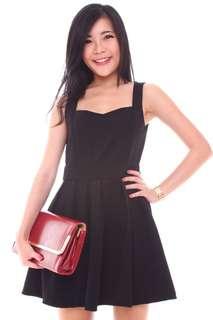 🚚 Osmose Black Textured Sweetheart Skater Dress