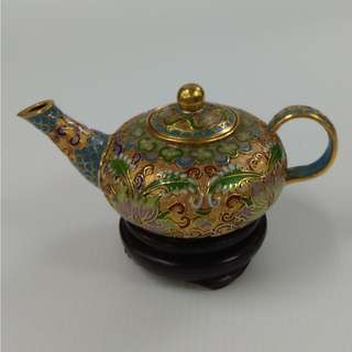 Vintage Chinese Cloisonne Ornamental Tea Pot Handmade Miniature Pot with gold plated carving