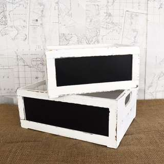 RENT: Rustic White Chalkboard Crates (S, M)