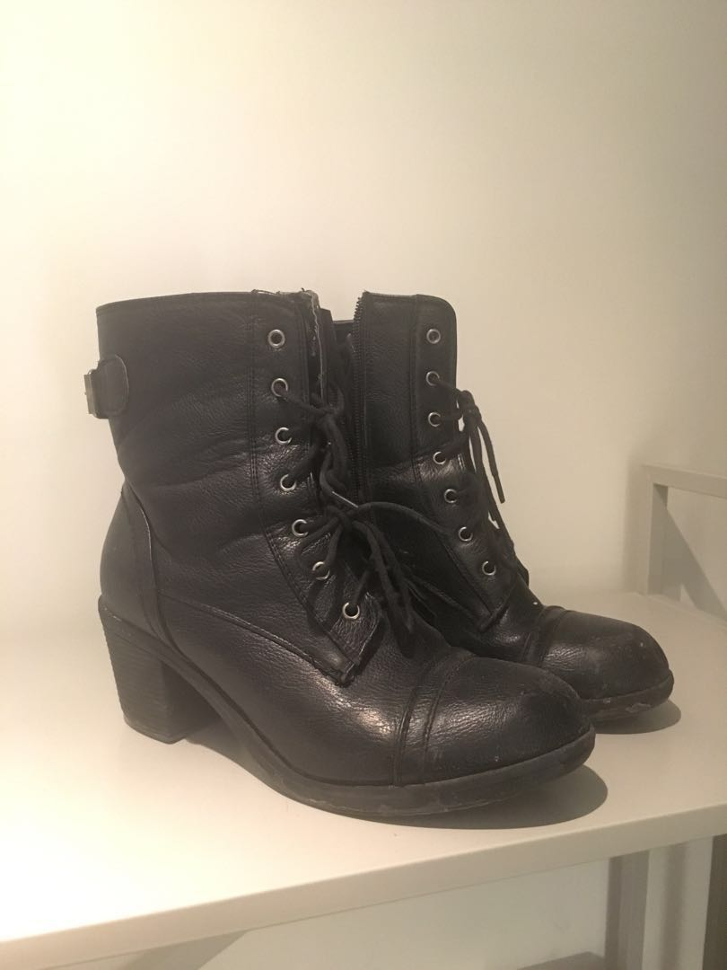 7.5 black heeled combat boots, 7/10 condition