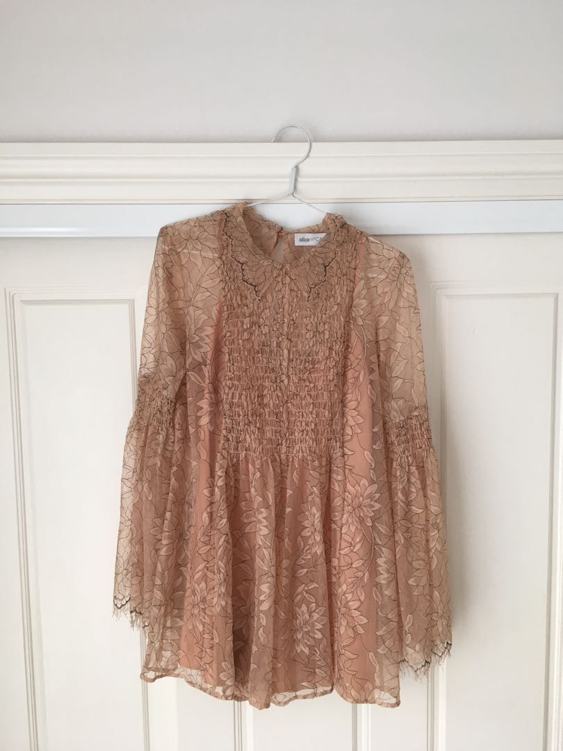 e0e028d146a Alice McCall Pale Pink Lace Patterned Long Sleeved Playsuit