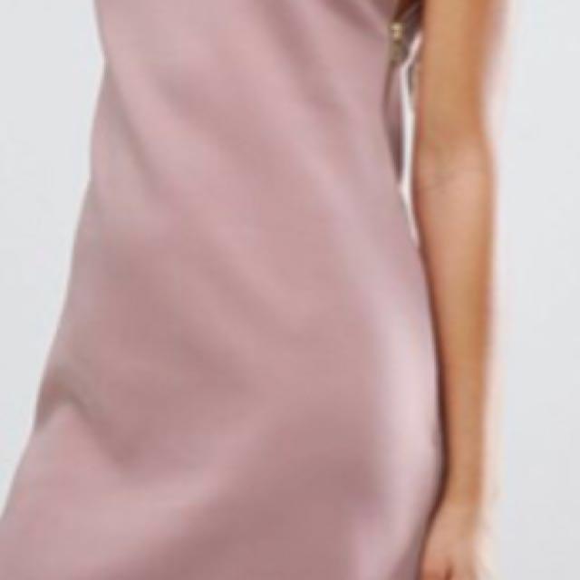 ASOS Mauve Pink One Shoulder zip side dress