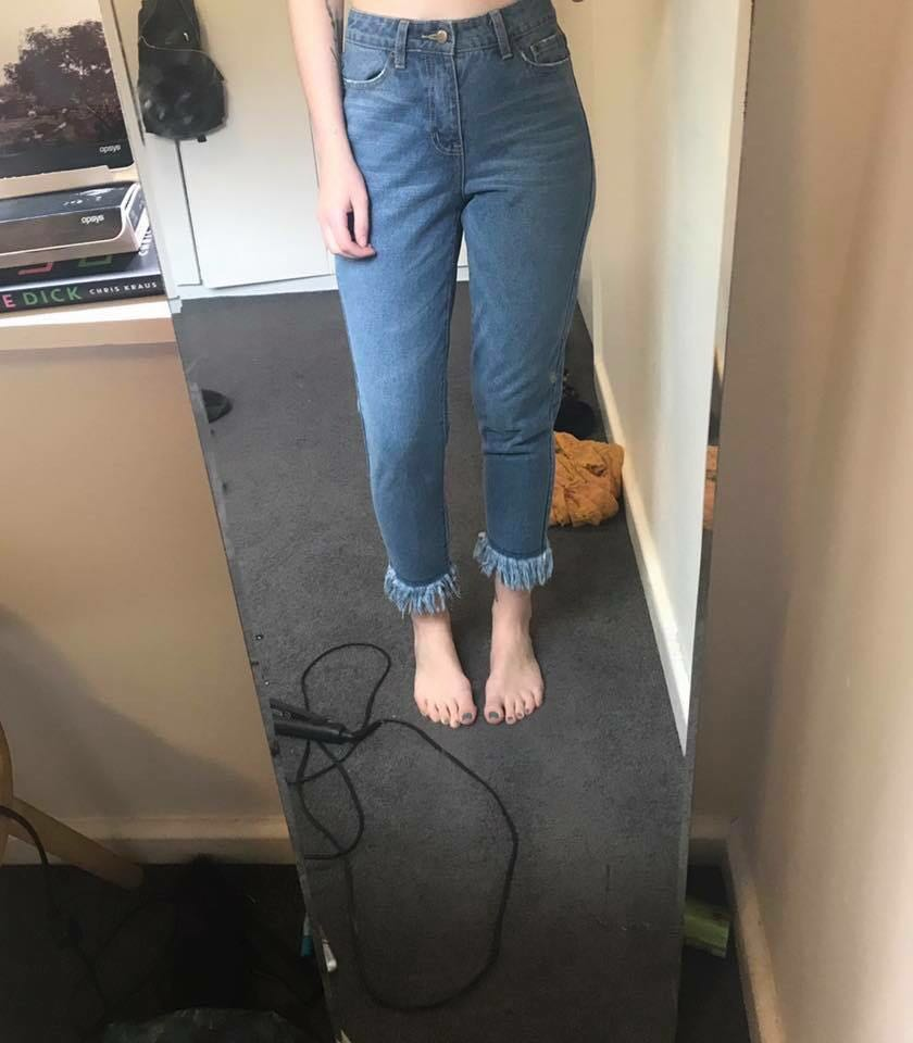 Atoms & Here high waisted jeans with fringe