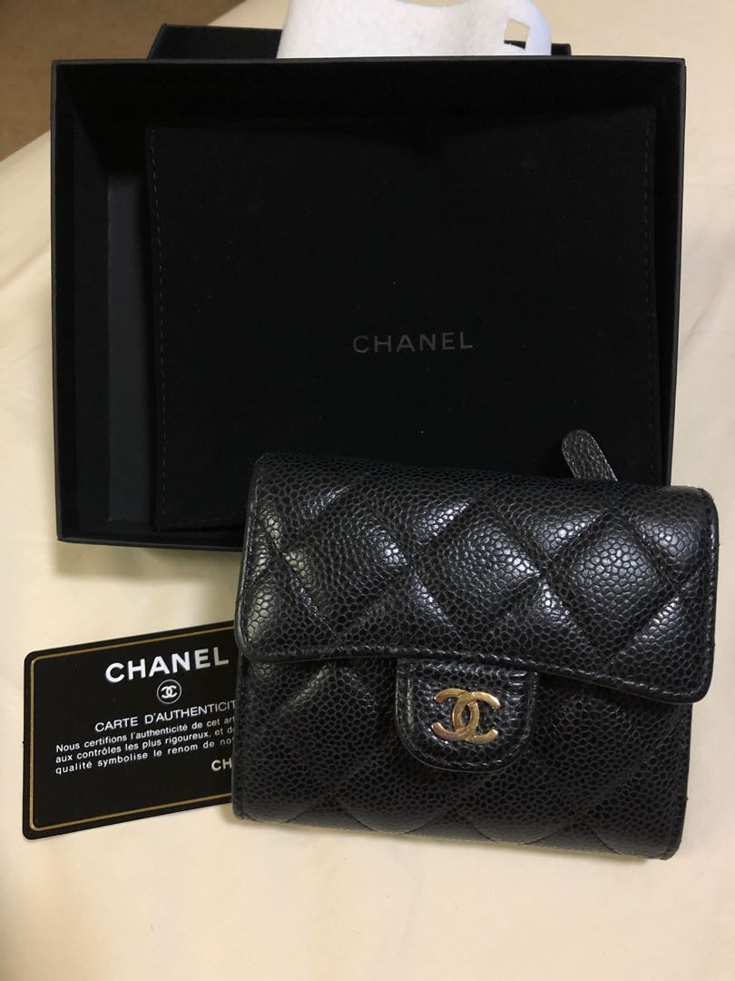 b7b208d8dc07f6 Authentic Chanel Trifold Small Short Caviar Wallet in Black, Women's ...