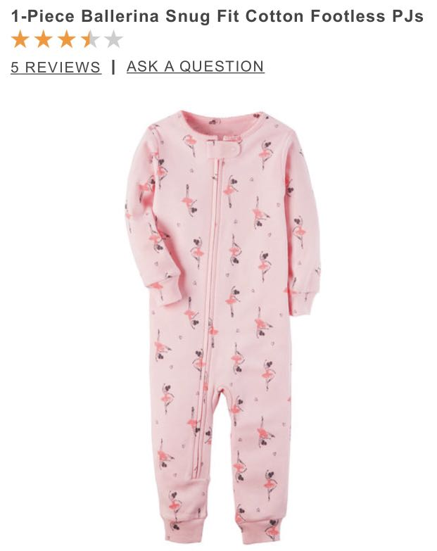 a49ad9673b3f Carter s 1-Piece Ballerina Snug Fit Cotton Footless PJs