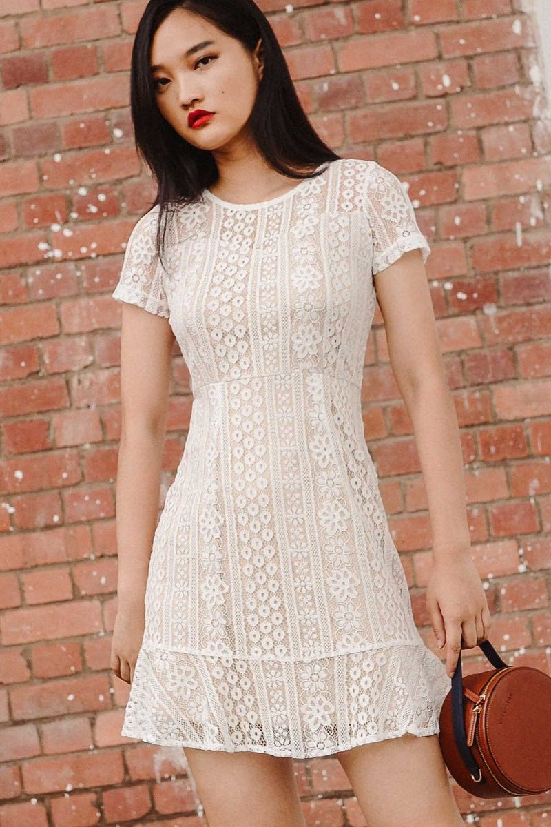 deb033785c8 Fashmob Bally Lace Dress in White