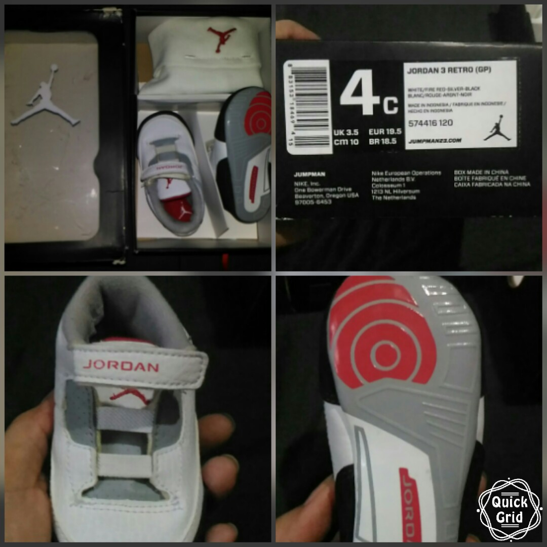 100% authentic 3e1a6 b270e JORDAN 3 RETRO (GP) BABY SHOES on Carousell