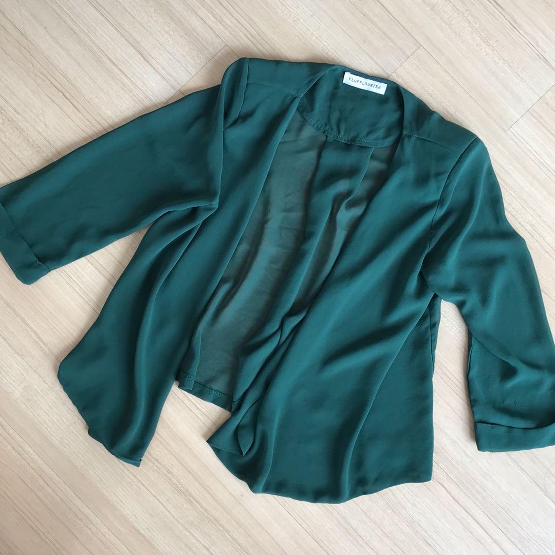 Kimono Cardigan Emerald Green