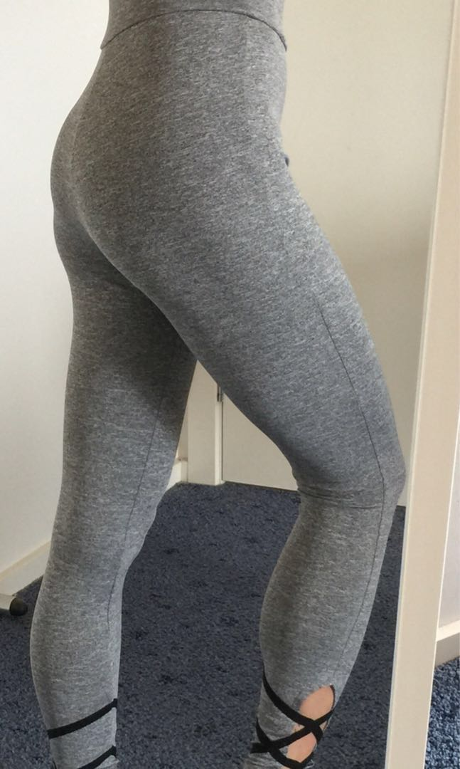 Namastetics Grey Criss Cross Ankle Yoga Pants