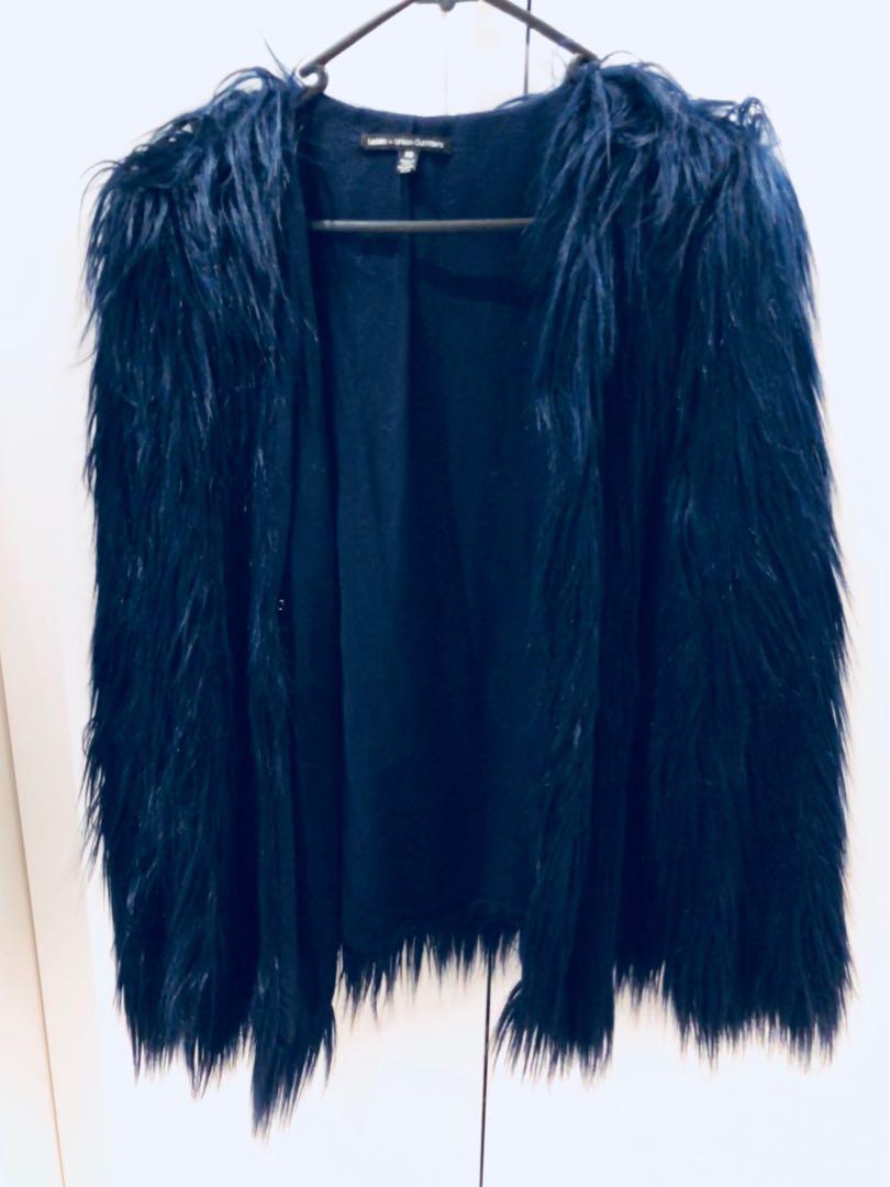 Navy blue fur jacket