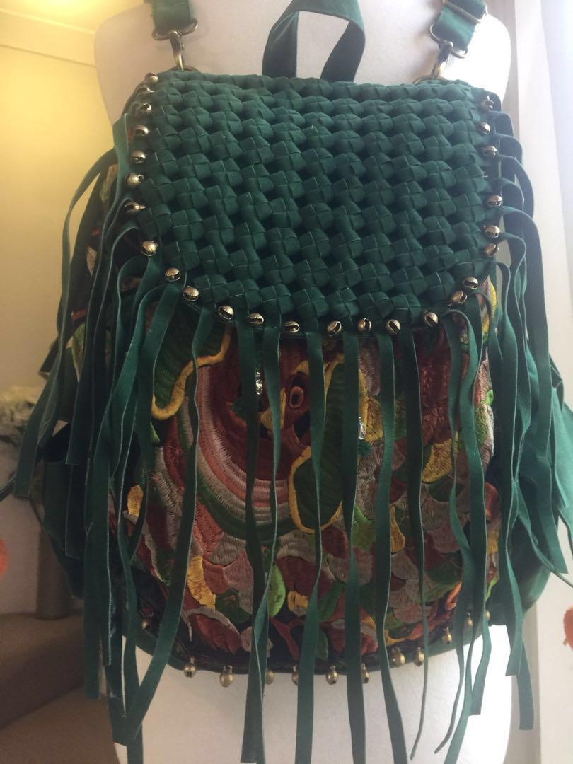 Oriental embellished back pack