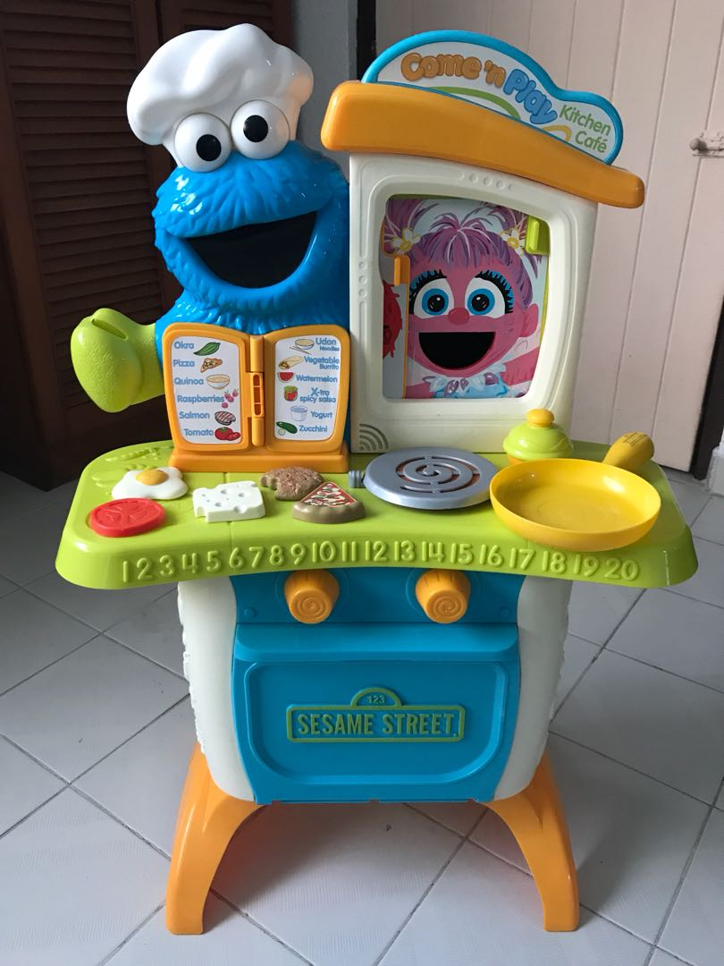 Sesame Street Come N Play Cookie Monster Kitchen Cafe Playset Babies Kids Toys Walkers On Carousell