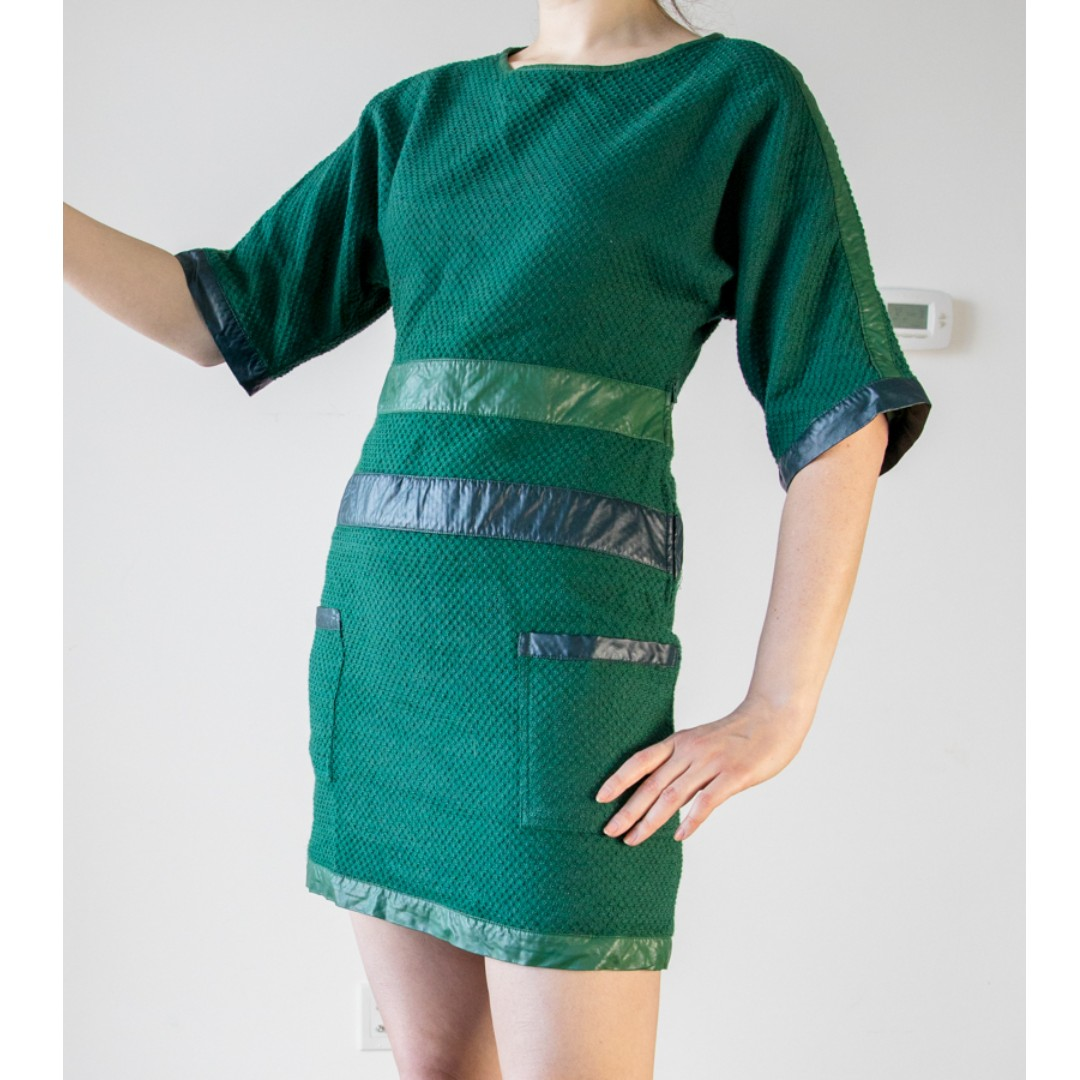 Skunkfunk green dress with faux leather details. Small S short sleeve