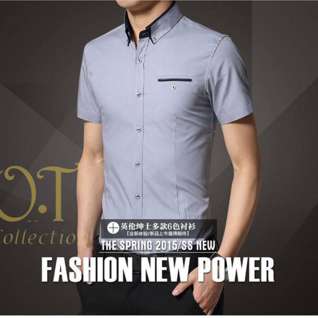 Tomy Grey Xl Kemeja Pria Katun Strech Abu Lengan Pendek Olshop Premium Pocket Denim Ss Fashion Wanita Di Carousell
