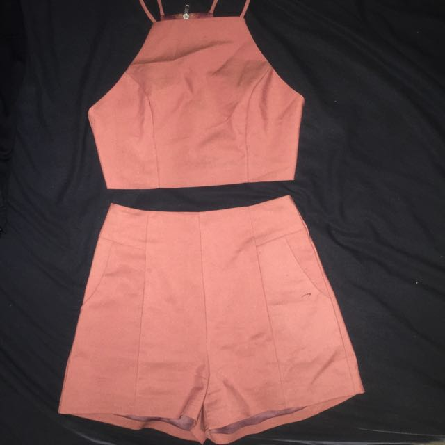 Two Piece, Co Ords, Set, Crop Top Shorts