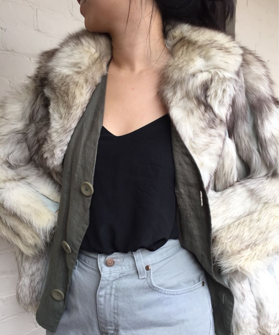 Vintage white fox fur coat with leather panels