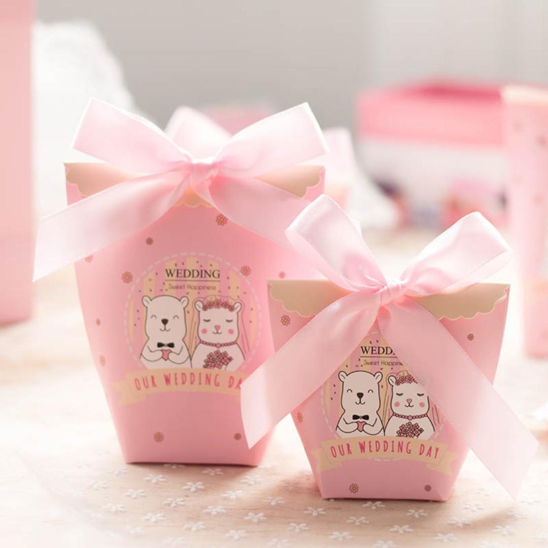 Wedding Gift Candy Little Bear Wedding Cute Basket Box Standing ...