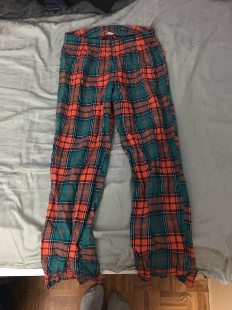 Xs orange and dark teal pyjama pants