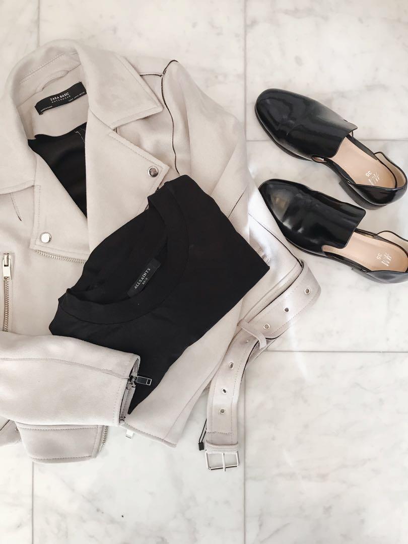 Zara Grey Suede Jacket