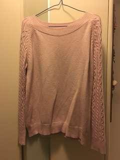 粉紅色扭紋邊顯瘦上衣