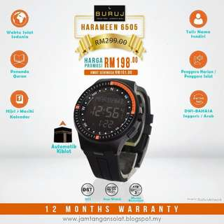 Qiblat Watches Jam Tangan Solat Harameen 6505 Black Orange Hadiah Gift Islamik Fashion