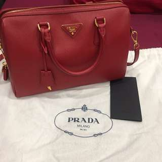 Prada Saffiano Bowler Bag with Strap