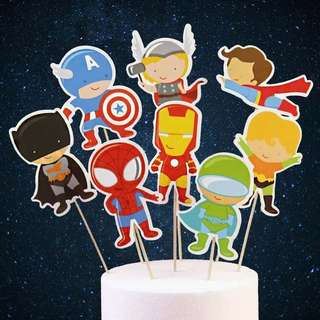 💥 Superheroes Avengers Justice League party supplies - dessert toppers / cake toppers / DIY cake deco