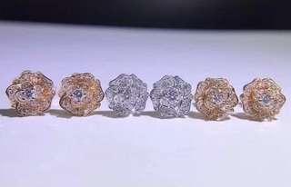 18K金 鑽石耳釘
