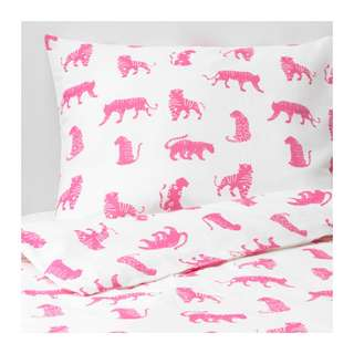 [IKEA] URSKOG Quilt cover and pillowcase, tiger, pink/ SINGLE only