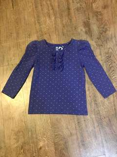 Cotton On Kids Indigo Long Sleeved Top (Size 2)