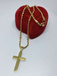 Cross Necklace (Gold tone)