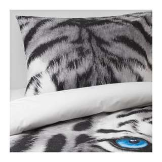 [IKEA] URSKOG Quilt cover and pillowcase, tiger, grey