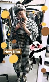 🚚 格子棉麻連帽洋裝(含運費)